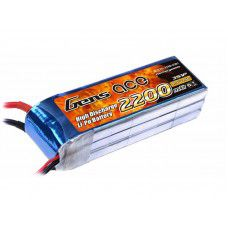 Gens-Ace 2200mAh, 11.1V, 3S1P, 25C, With 105x33x21mm 172g, EC3 Plug, JST-XH.