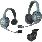 UltraLITE 2 person  system w/ 1 Single 1 Double Headset, batteries, charger & case, by Eartec