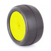 1:10 BUGGY EVO GRIDIRON REAR (SUPER SOFT) EVO WHEEL PRE-MOUNTED YELLOW by AKA