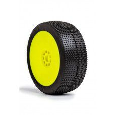 1:8 BUGGY P1 (SUPER SOFT) EVO WHEEL PRE-MOUNTED YELLOW by AKA