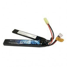 Gens Ace 1200mAh 25C 3S 11.1v Airsoft Gun Saddle/Split Lipo Battery, 124x21x11mm, 88g, Tamiya